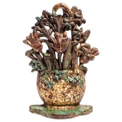 Antique Floral Bouquet Cast Iron Door Stop