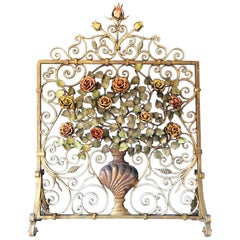 Antique Floral Fire Guard Attributed to Charles Hancock Cheltenham, 1880