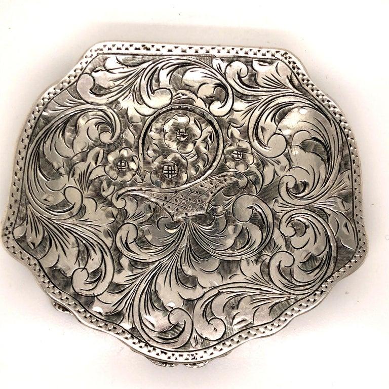 Women's or Men's Antique Floral Flower Basket Engraved Silver Compact