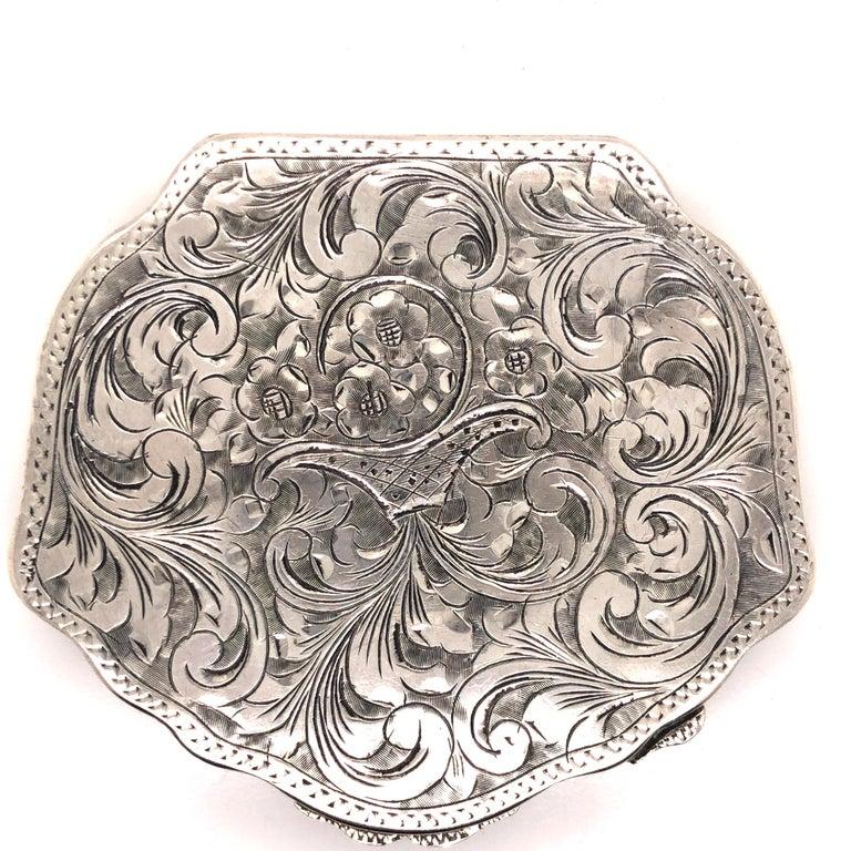 Antique Floral Flower Basket Engraved Silver Compact 2