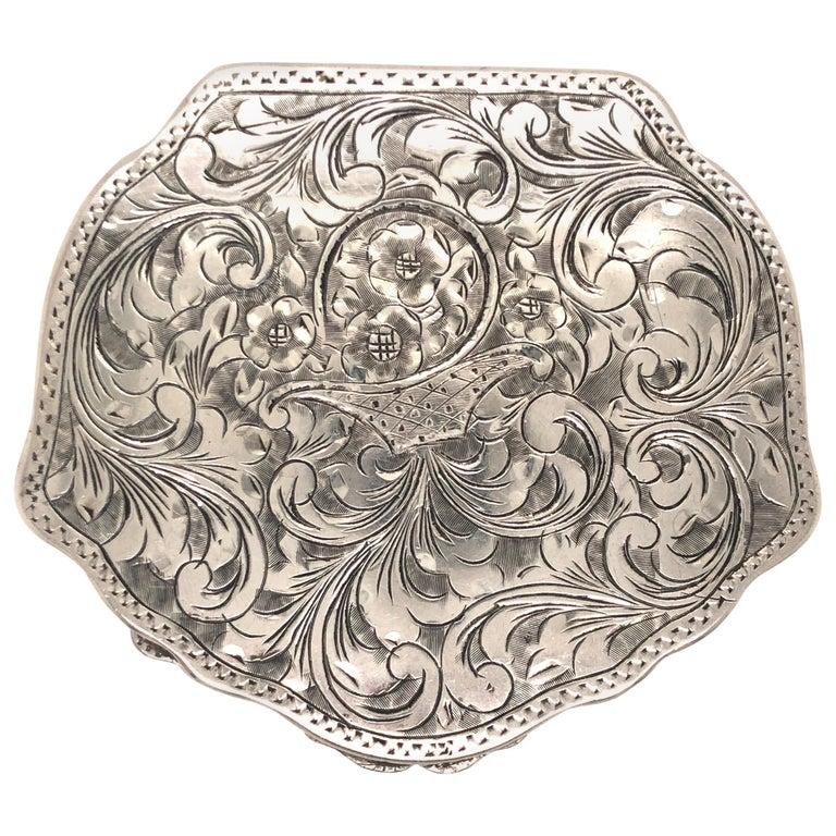 Antique Floral Flower Basket Engraved Silver Compact