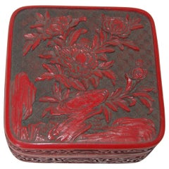 Antique Floral Hand Carved Lacquer Cinnabar Lidded Jewelry Box
