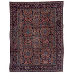 Antique Floral Heriz Carpet, circa 1930s