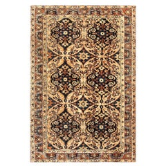 Antique Floral Ivory Background Persian Kirman Handwoven Wool Rug