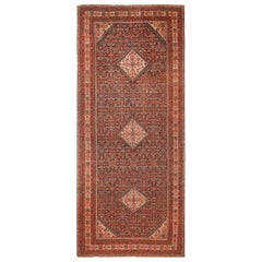 Antique Floral Persian Malayer Runner Rug. Size: 7 ft 6 in x 17 ft