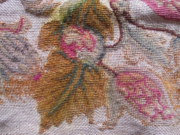 French Provincial Antique Floral Petit Point Tapestry Seat Cover For Sale