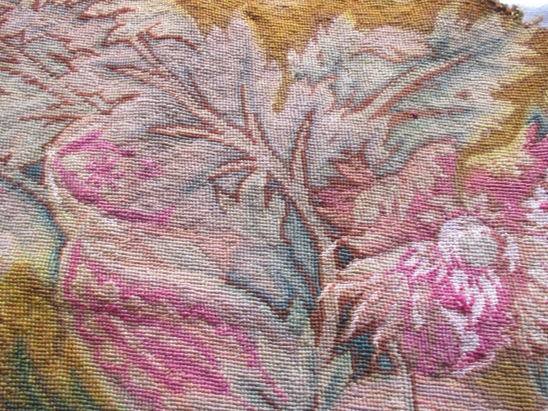 French Antique Floral Petit Point Tapestry Seat Cover For Sale