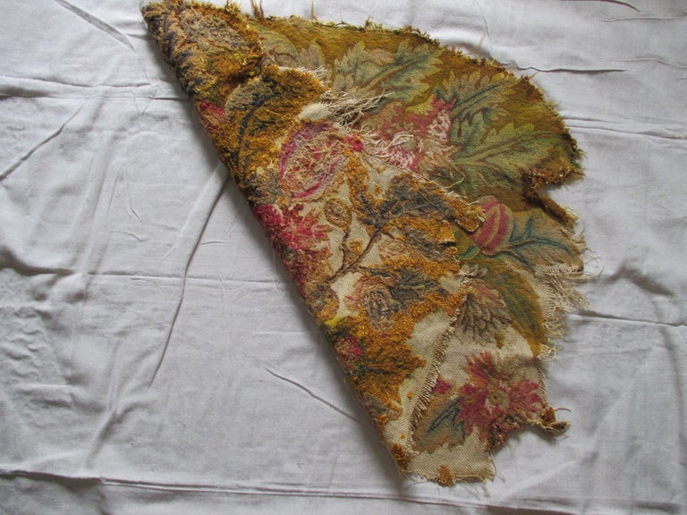 Hand-Crafted Antique Floral Petit Point Tapestry Seat Cover For Sale