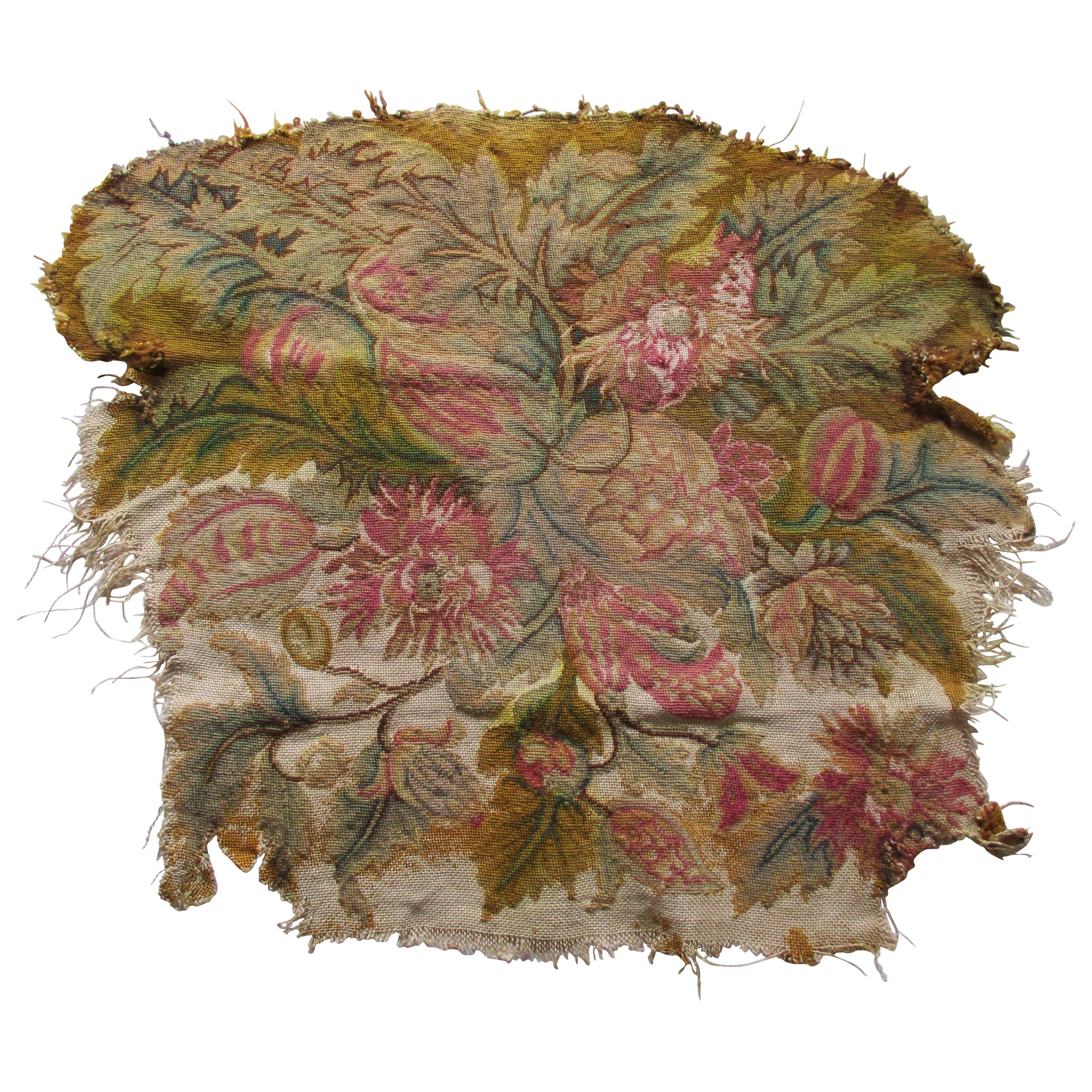 Antique Floral Petit Point Tapestry Seat Cover