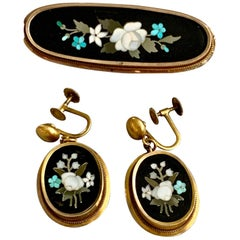 Antique Floral Pietra Dura Brooch and 14 Karat Yellow Gold Screw Back Earrings