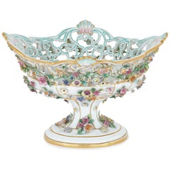 Antique Floral Porcelain Fruit Bowl by Meissen