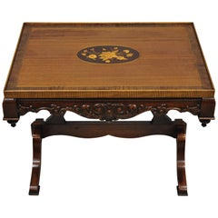 Antique Floral Satinwood Inlaid French Style Small Edwardian Walnut Coffee Table