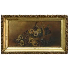 Antique Floral Still Life Oil Painting on Board of Pansies in a Basket, c1890