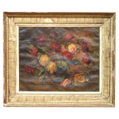 Antique Floral Still Life Painting of Roses Signed DeFrancisco, 1925