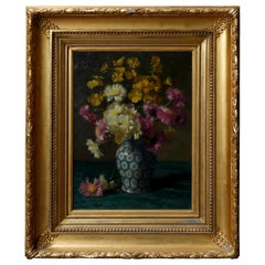 Floral Still Painting of Vase Bouquet on Table in Giltwood Frame, circa 1900