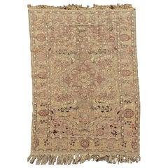 Late 19th C. Antique Floral Turkish Kaysari Silk & Metallic Thread Tapestry Rug