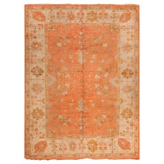 Antique Floral Turkish Oushak Rug. Size: 8 ft 2 in x 11 ft