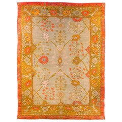 Antique Floral Turkish Oushak Wool Rug