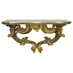 Antique Florentine Baroque Gold, White and Green Carved Console Table