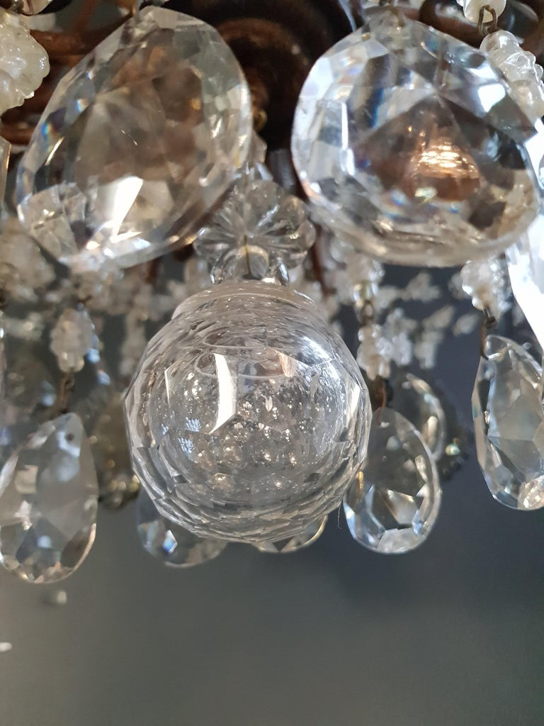 Antique Florentiner Crystal Chandelier Ceiling Lamp Lustre Art Nouveau Rarity 10
