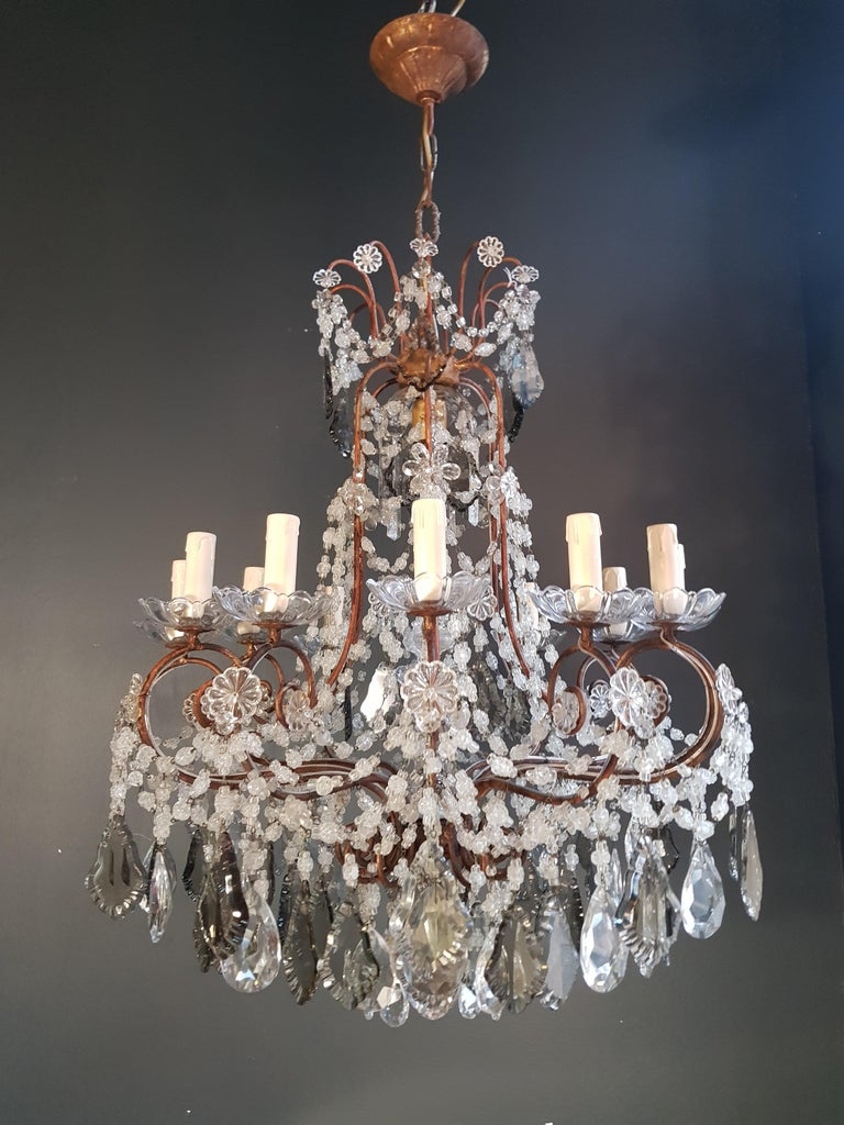 Antiker Florentiner Kristall-Kronleuchter Deckenlampe Lüster Jugendstil Rarität 13