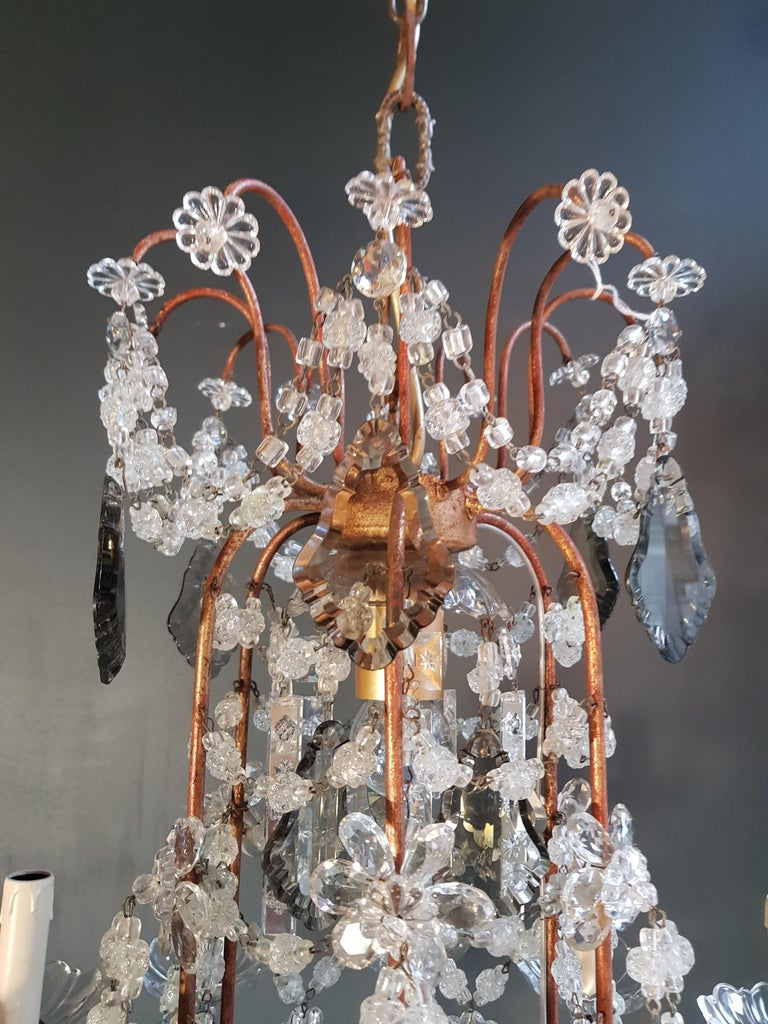 Antique Florentiner crystal chandelier ceiling lamp Lustre Art Nouveau Rarity