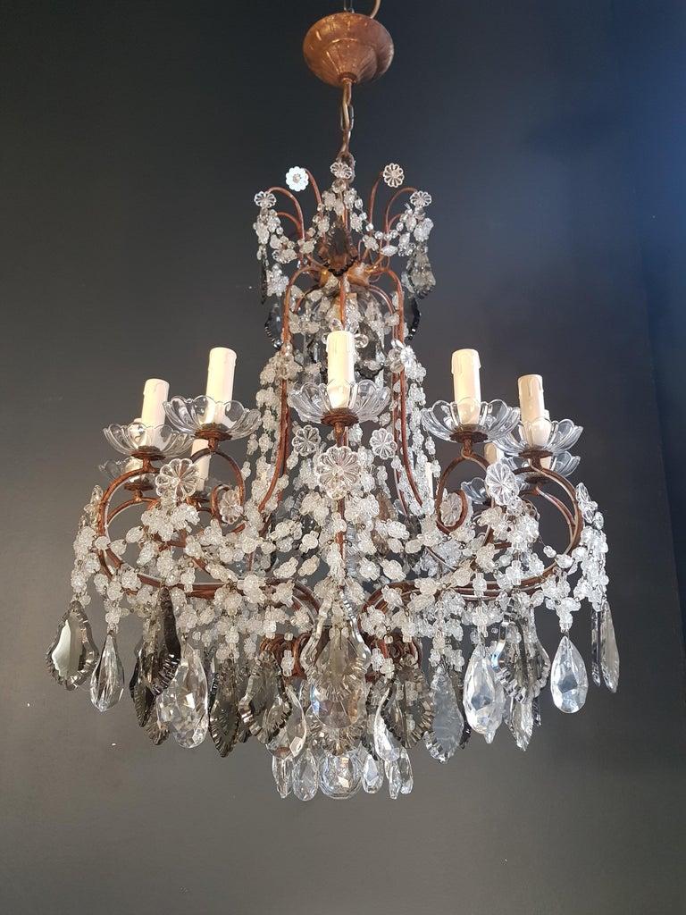 Antiker Florentiner Kristall-Kronleuchter Deckenlampe Lüster Jugendstil Rarität 3