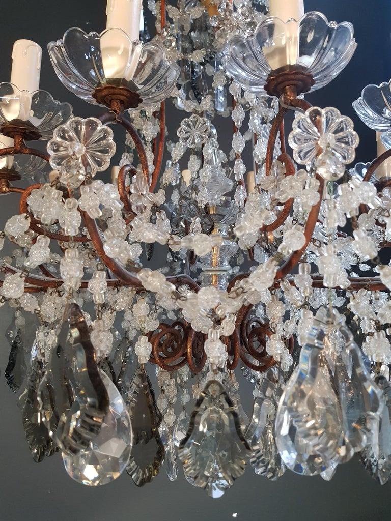 Antiker Florentiner Kristall-Kronleuchter Deckenlampe Lüster Jugendstil Rarität 4