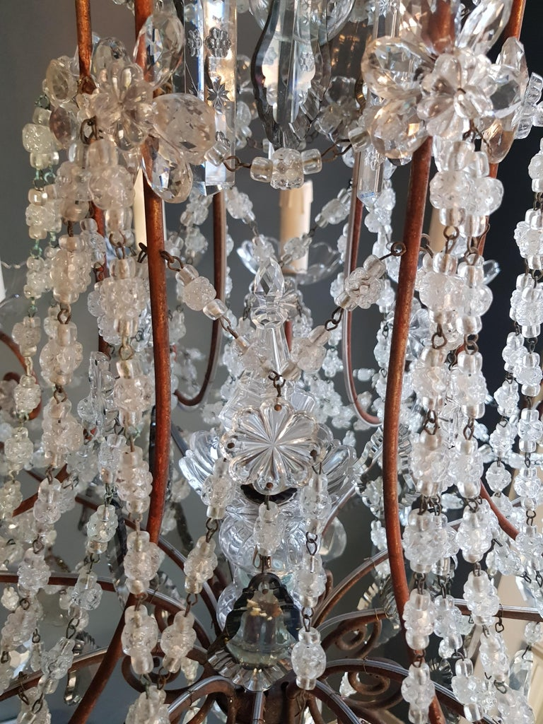 Antique Florentiner Crystal Chandelier Ceiling Lamp Lustre Art Nouveau Rarity In Good Condition For Sale In Berlin, DE
