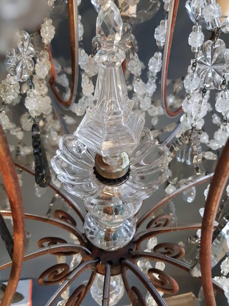 Antiker Florentiner Kristall-Kronleuchter Deckenlampe Lüster Jugendstil Rarität 7