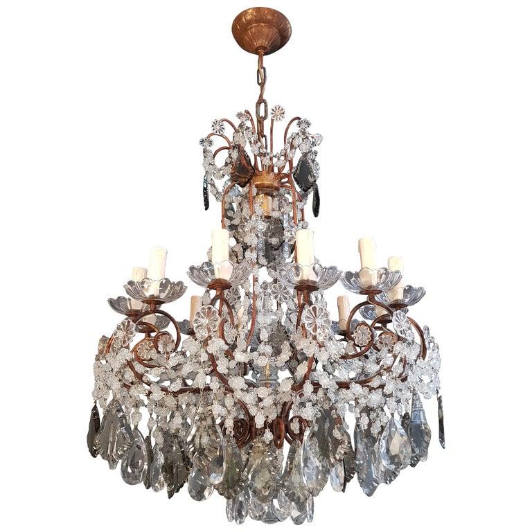 Antique Florentiner Crystal Chandelier Ceiling Lamp Lustre Art Nouveau Rarity 1