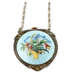 Antique Flower Basket Blue Enamel Sterling Pendant Watch Necklace By Becker
