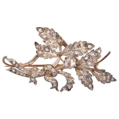 Antique Flower Silver and Gold Diamond Brooch