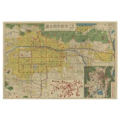 Antique Folding Map of Kyoto, 1920