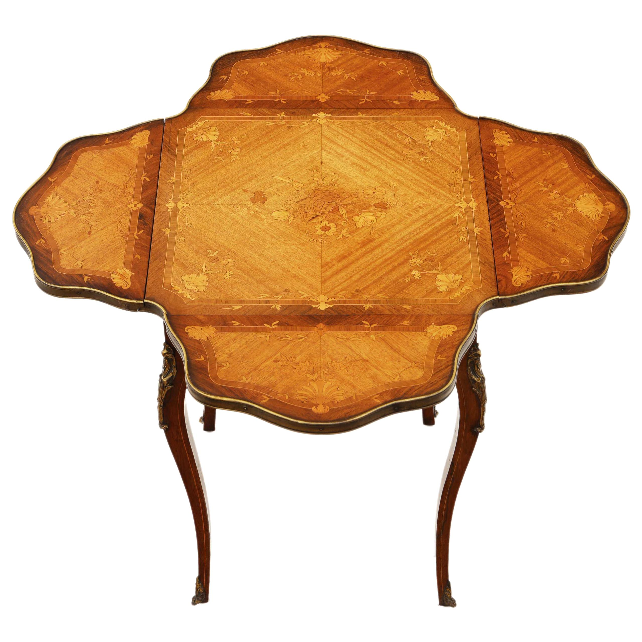 Antique Folding Marquetry Centre Table