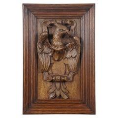 Antique Folk Art American Eagle Carved Oak Wall Plaque High Relief Heraldic