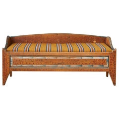Antique Folk Art Bench In Pine With Upholstered Seat, Sweden Late 18th-Century
