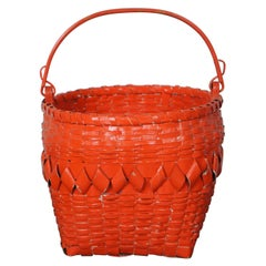 Antique Folk Art Boho Orange Painted Woven Wicker Basket w Bentwood Handle