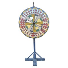 Antique Folk Art Carnival Game Wheel, Spinner, Gambling Device, Signed Nikiel