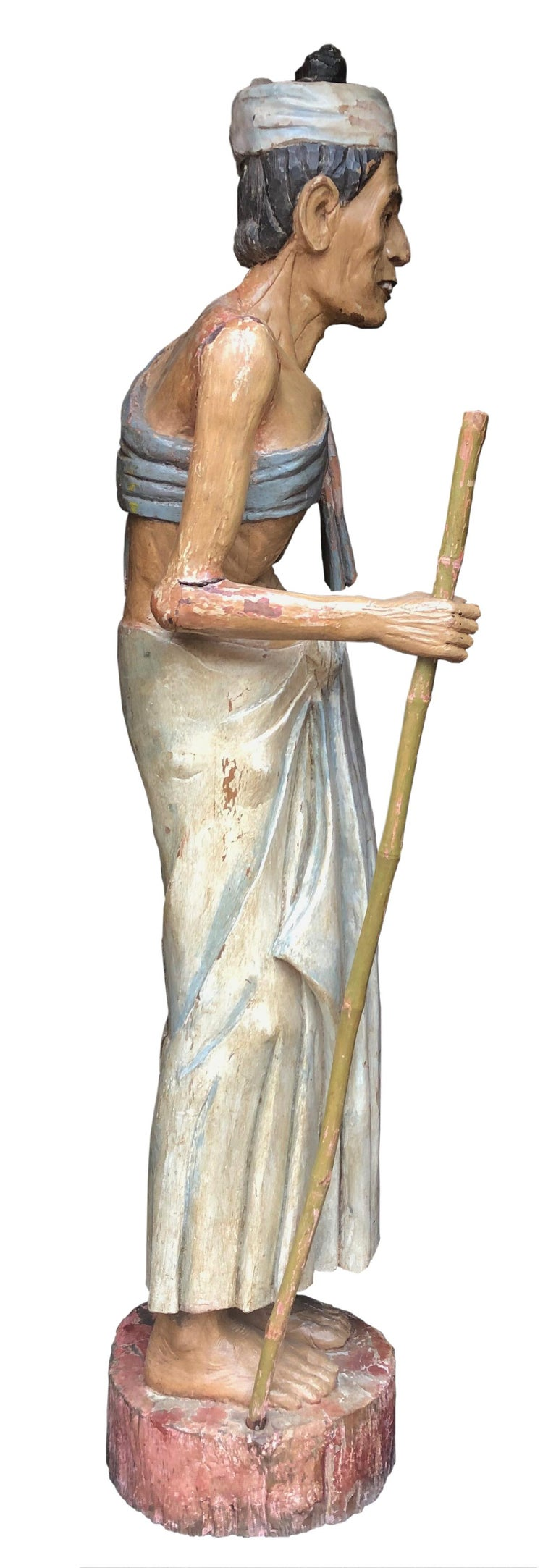 American Antique Folk Art Carved Gesso over Wood and Hand Painted Native Man Statue For Sale