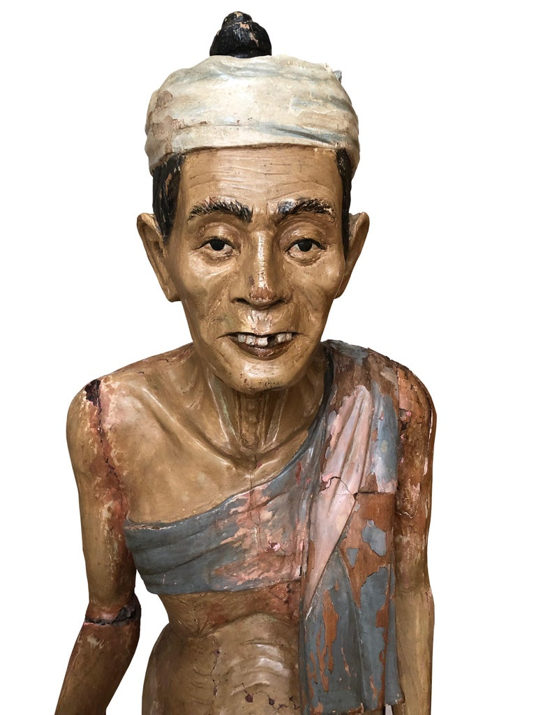Antique Folk Art Carved Gesso over Wood and Hand Painted Native Man Statue In Fair Condition For Sale In Hamilton, Ontario