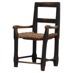 Antique Folk Art Chair with the Original Rush Seat from England