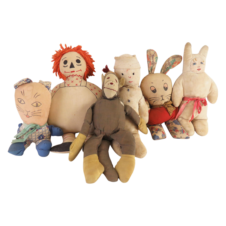 Antique Folk Art Collection of Six Rag Dolls, circa 1930s