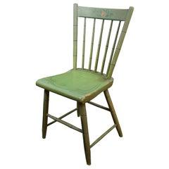 Antique Folk Art Green Painted Windsor Spindle Back Side Desk Chair Farmhouse