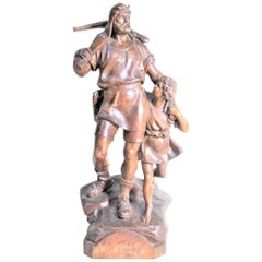 Antique Folk Art Hand Carved 'William Tell' & Boy Wooden Figurative Sculpture