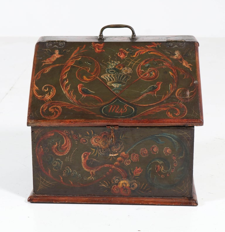 Dutch Antique Folk Art Hand Painted Hindelopen Wooden Box, 1808 For Sale