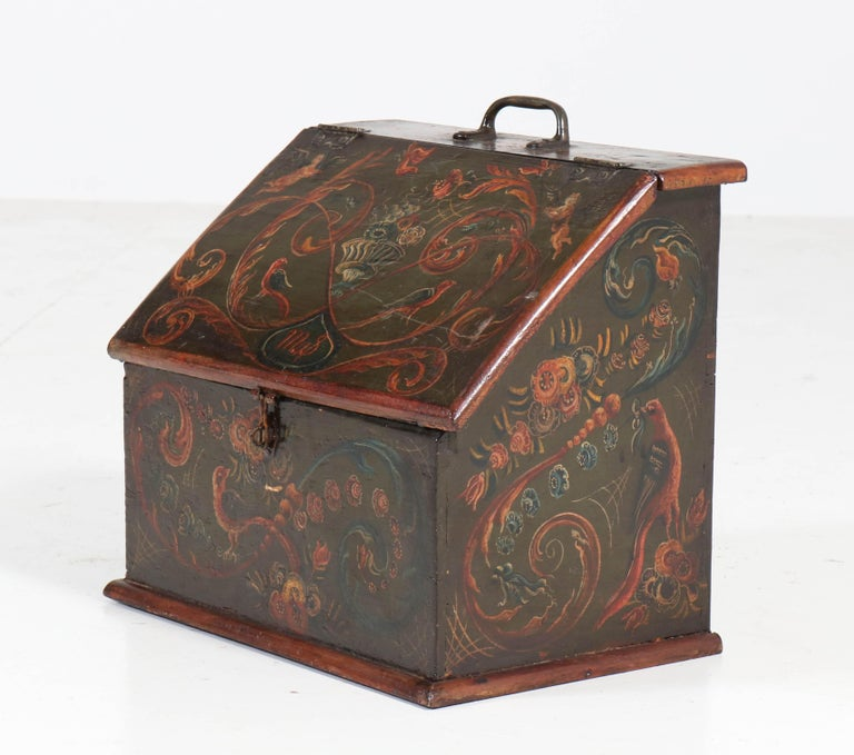 Early 19th Century Antique Folk Art Hand Painted Hindelopen Wooden Box, 1808 For Sale