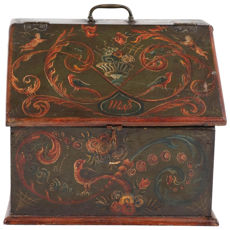 Antique Folk Art Hand Painted Hindelopen Wooden Box, 1808 For Sale