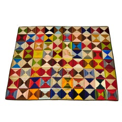 Antique Folk Art Handmade Quilt Blanket Diamond Patchwork Green Yellow Red