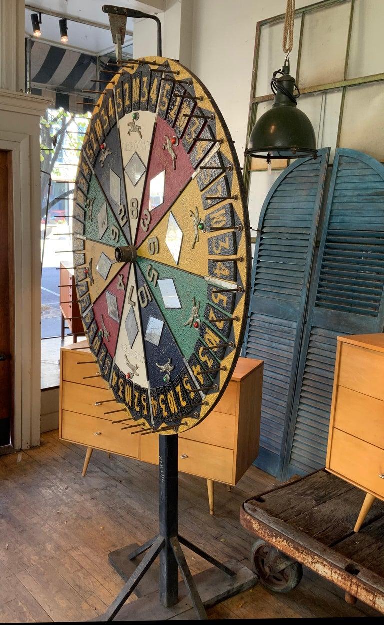 Mid-20th Century Antique Folk Art Horse Race Betting Game Wheel